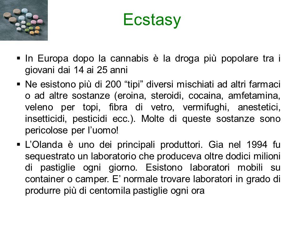 Ecstasy In Europa dopo la cannabis è la droga più popolare tra i giovani dai 14 ai 25 anni Ne esistono più di 200 tipi diversi mischiati ad altri farmaci o ad altre sostanze (eroina, steroidi, cocaina, amfetamina, veleno per topi, fibra di vetro, vermifughi, anestetici, insetticidi, pesticidi ecc.).