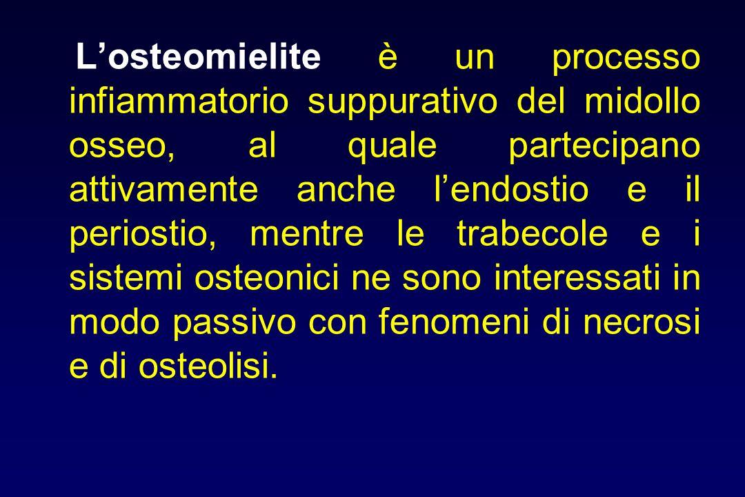 Losteomielite è un processo infiammatorio suppurativo del midollo osseo, al quale partecipano attivamente anche lendostio e il periostio, mentre le tr