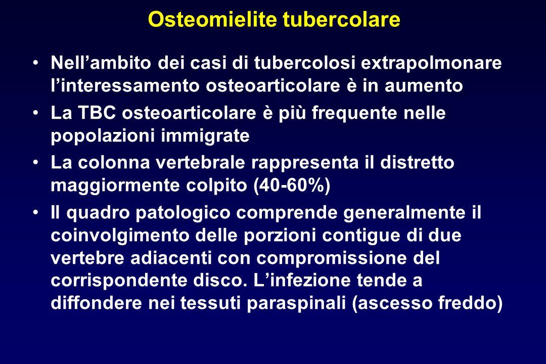 Osteomielite tubercolare Nellambito dei casi di tubercolosi extrapolmonare linteressamento osteoarticolare è in aumento La TBC osteoarticolare è più f