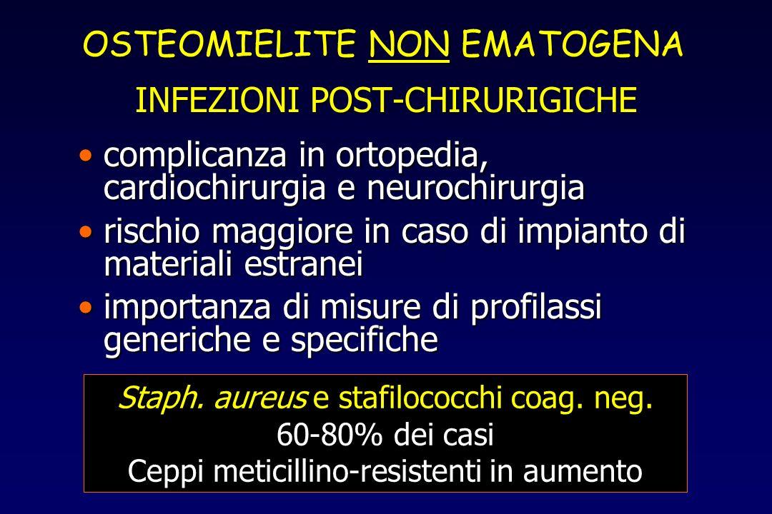 OSTEOMIELITE NON EMATOGENA INFEZIONI POST-CHIRURIGICHE complicanza in ortopedia, cardiochirurgia e neurochirurgiacomplicanza in ortopedia, cardiochiru