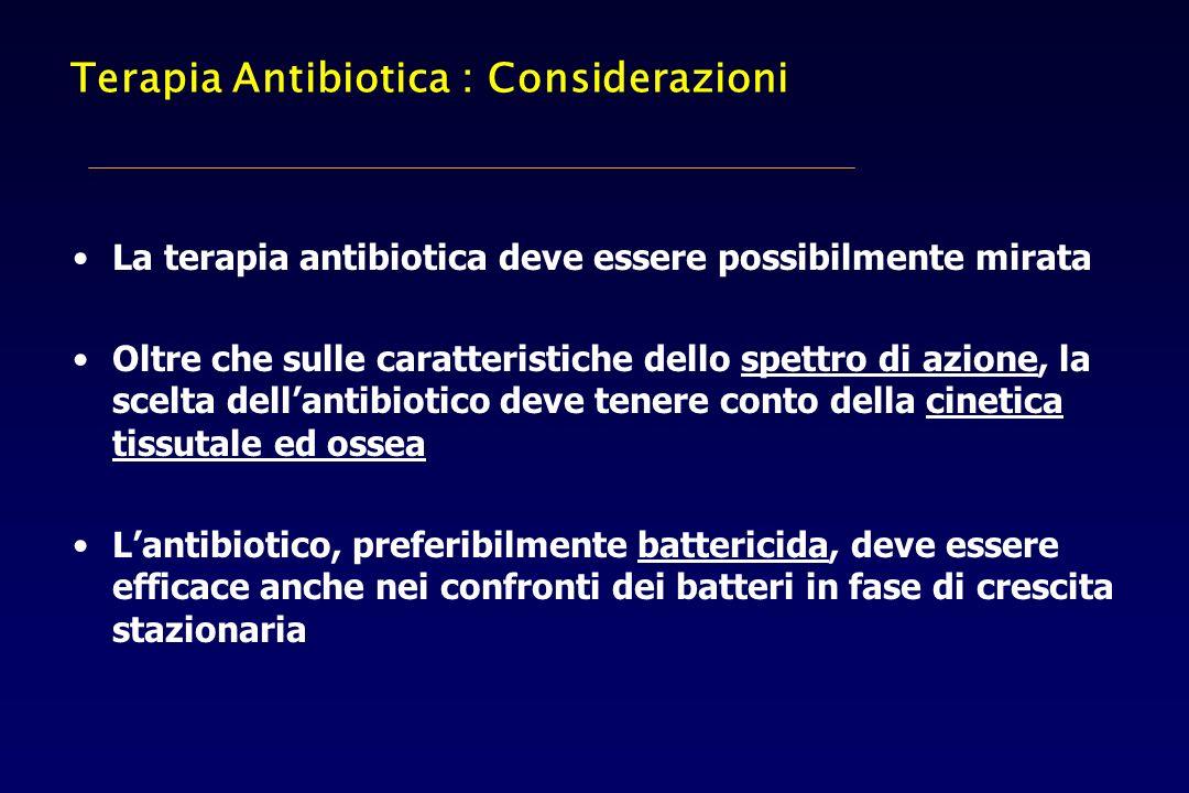 Terapia Antibiotica : Considerazioni La terapia antibiotica deve essere possibilmente mirata Oltre che sulle caratteristiche dello spettro di azione,