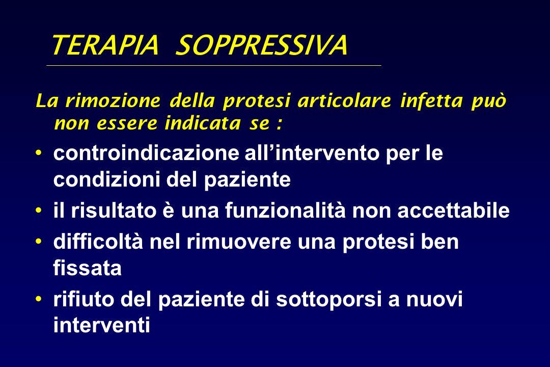 TERAPIA SOPPRESSIVA La rimozione della protesi articolare infetta può non essere indicata se : controindicazione allintervento per le condizioni del p
