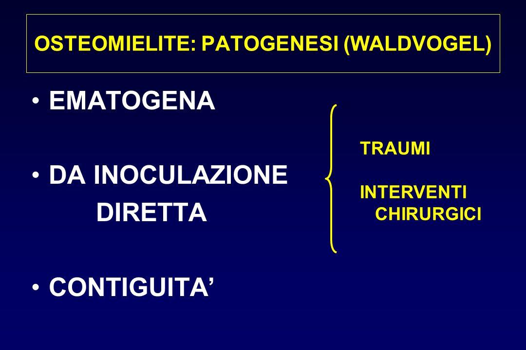 OSTEOMIELITE: PATOGENESI (WALDVOGEL) EMATOGENA DA INOCULAZIONE DIRETTA CONTIGUITA TRAUMI INTERVENTI CHIRURGICI
