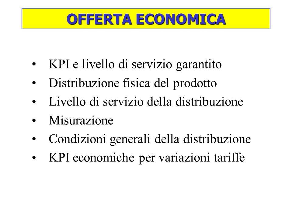 OFFERTA ECONOMICA KPI e livello di servizio garantito Distribuzione fisica del prodotto Livello di servizio della distribuzione Misurazione Condizioni