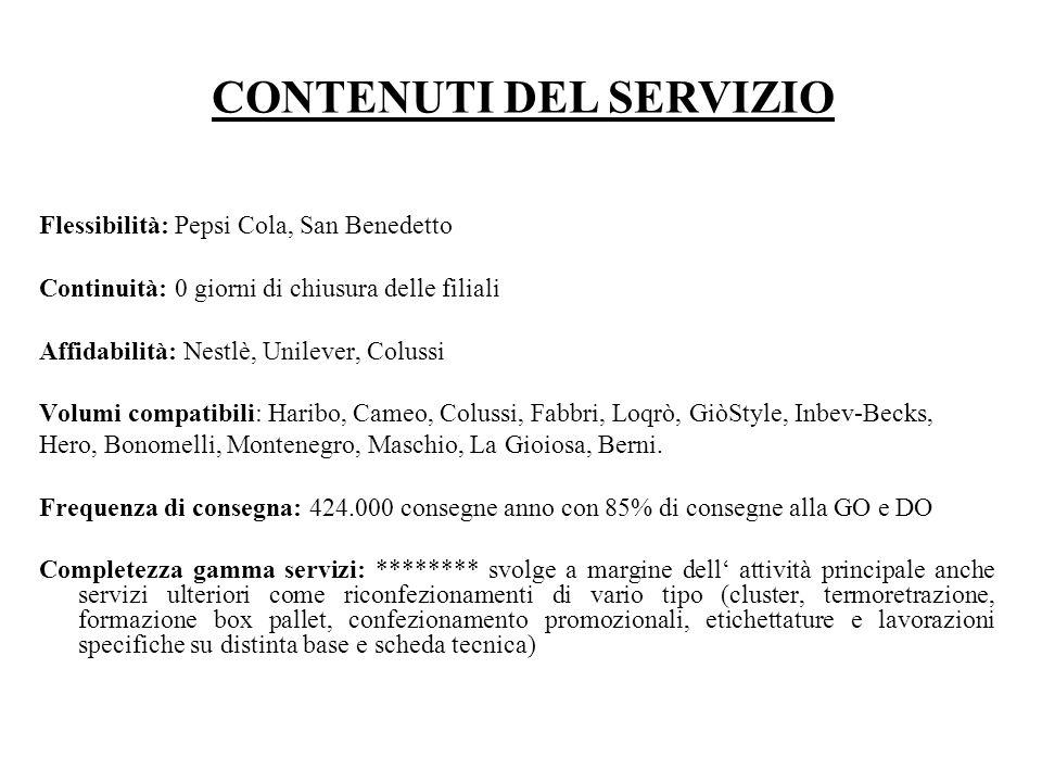 Flessibilità: Pepsi Cola, San Benedetto Continuità: 0 giorni di chiusura delle filiali Affidabilità: Nestlè, Unilever, Colussi Volumi compatibili: Har