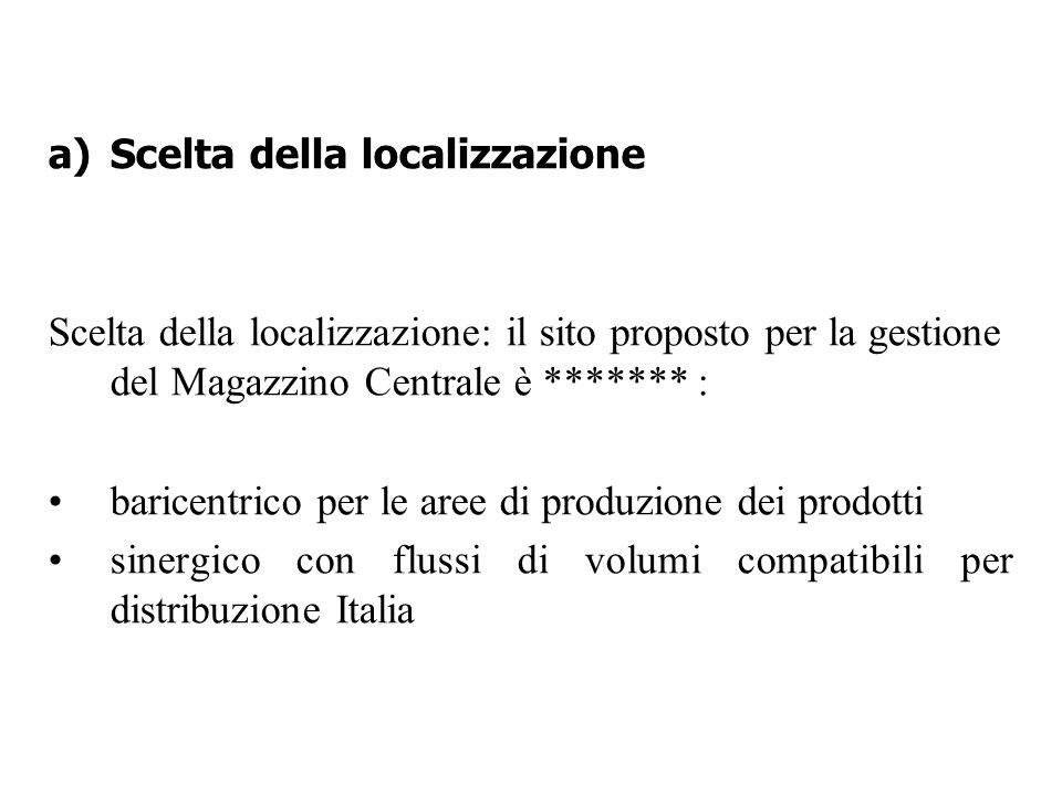 a)Scelta della localizzazione Scelta della localizzazione: il sito proposto per la gestione del Magazzino Centrale è ******* : baricentrico per le are