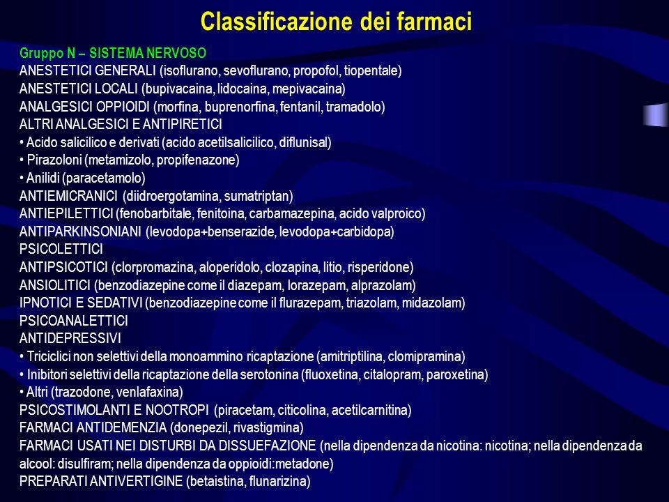Gruppo N – SISTEMA NERVOSO ANESTETICI GENERALI (isoflurano, sevoflurano, propofol, tiopentale) ANESTETICI LOCALI (bupivacaina, lidocaina, mepivacaina)