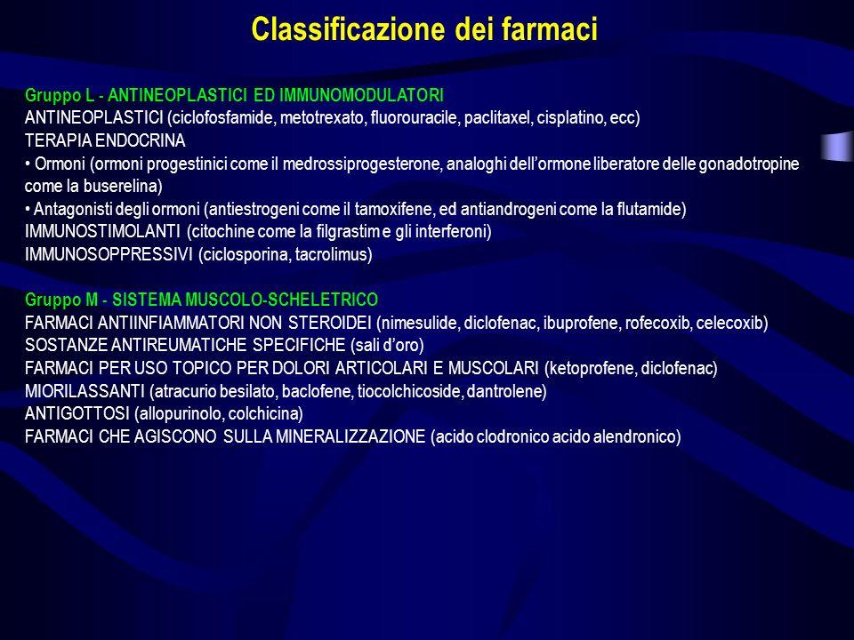 Gruppo L - ANTINEOPLASTICI ED IMMUNOMODULATORI ANTINEOPLASTICI (ciclofosfamide, metotrexato, fluorouracile, paclitaxel, cisplatino, ecc) TERAPIA ENDOC