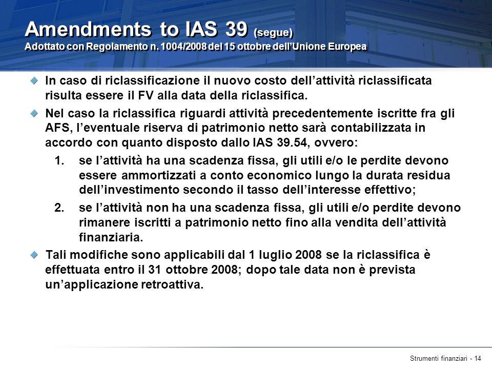 Strumenti finanziari - 14 Amendments to IAS 39 (segue) Adottato con Regolamento n. 1004/2008 del 15 ottobre dellUnione Europea In caso di riclassifica