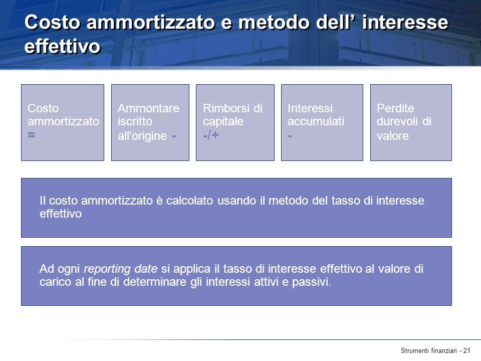 Strumenti finanziari - 21 Costo ammortizzato e metodo dell interesse effettivo Il costo ammortizzato è calcolato usando il metodo del tasso di interes