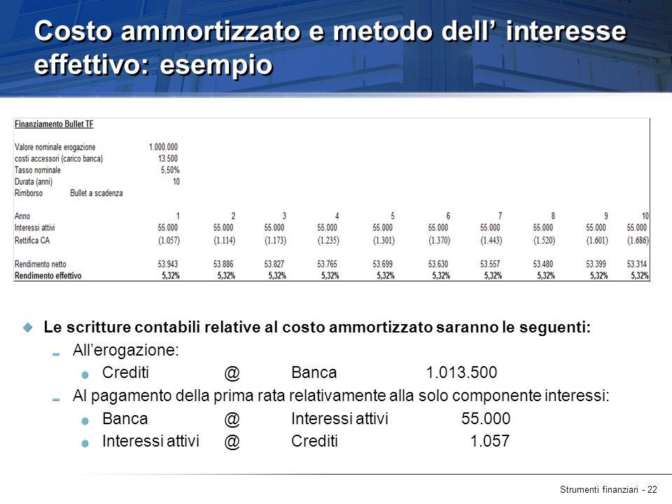Strumenti finanziari - 22 Costo ammortizzato e metodo dell interesse effettivo: esempio Le scritture contabili relative al costo ammortizzato saranno