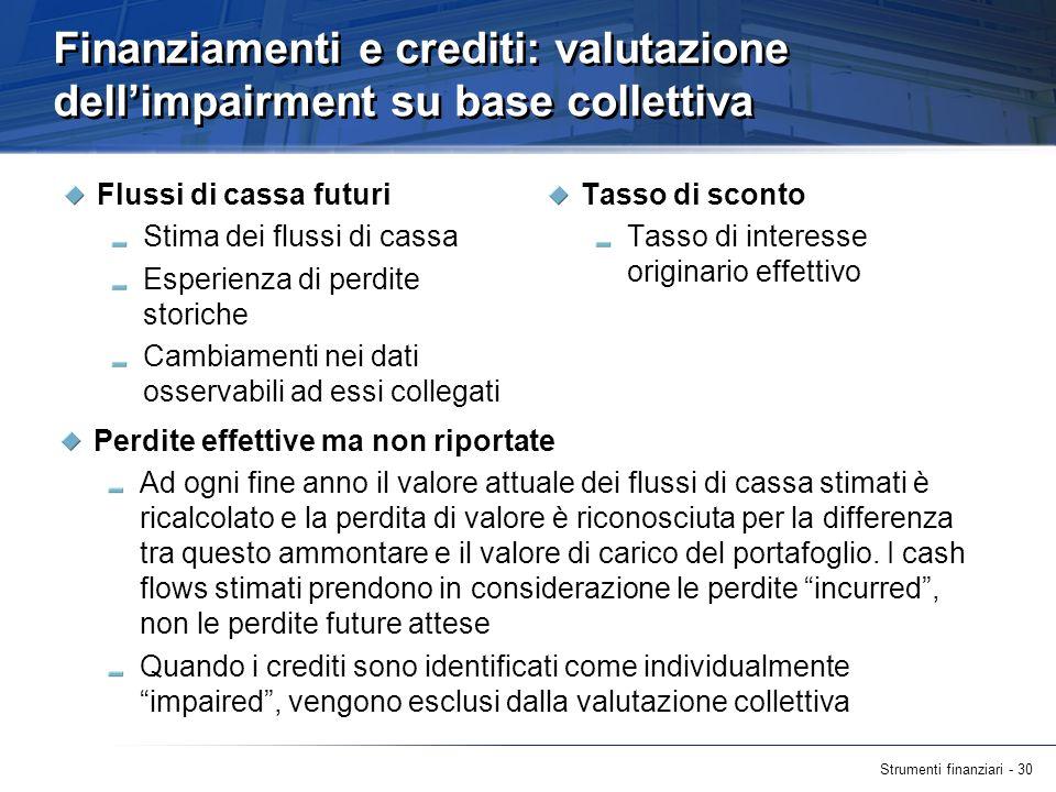 Strumenti finanziari - 30 Finanziamenti e crediti: valutazione dellimpairment su base collettiva Flussi di cassa futuri Stima dei flussi di cassa Espe