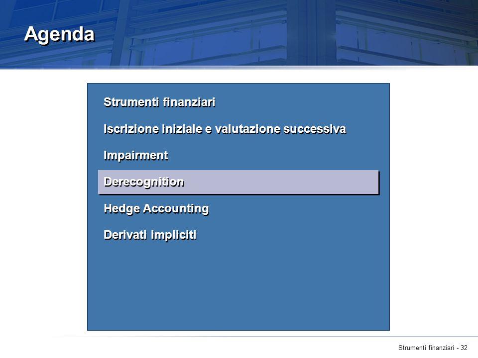 Strumenti finanziari - 32 Agenda Strumenti finanziari Iscrizione iniziale e valutazione successiva Impairment Derecognition Hedge Accounting Derivati