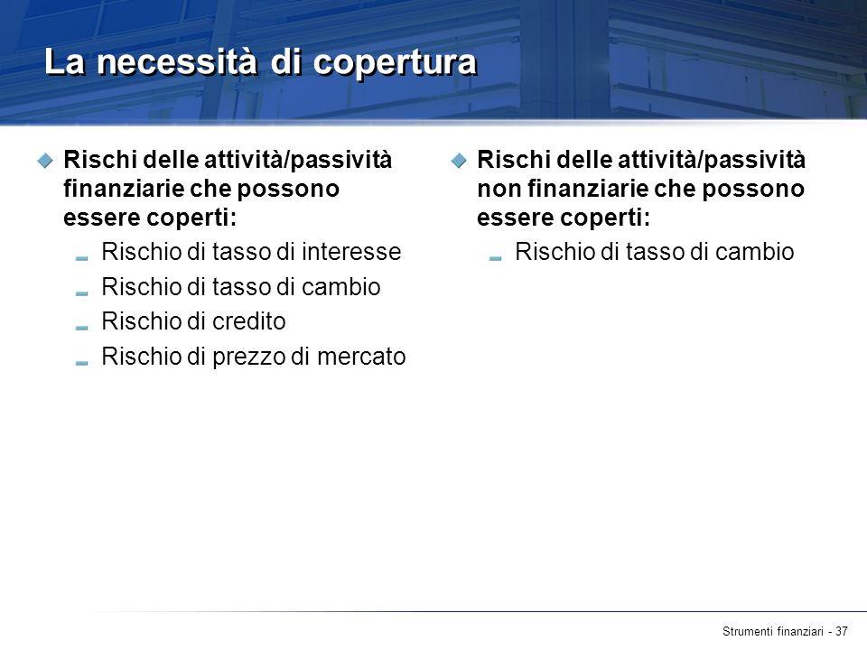 Strumenti finanziari - 37 La necessità di copertura Rischi delle attività/passività finanziarie che possono essere coperti: Rischio di tasso di intere