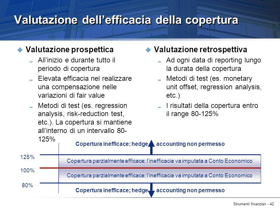 Strumenti finanziari - 42 Valutazione dellefficacia della copertura Valutazione prospettica Allinizio e durante tutto il periodo di copertura Elevata