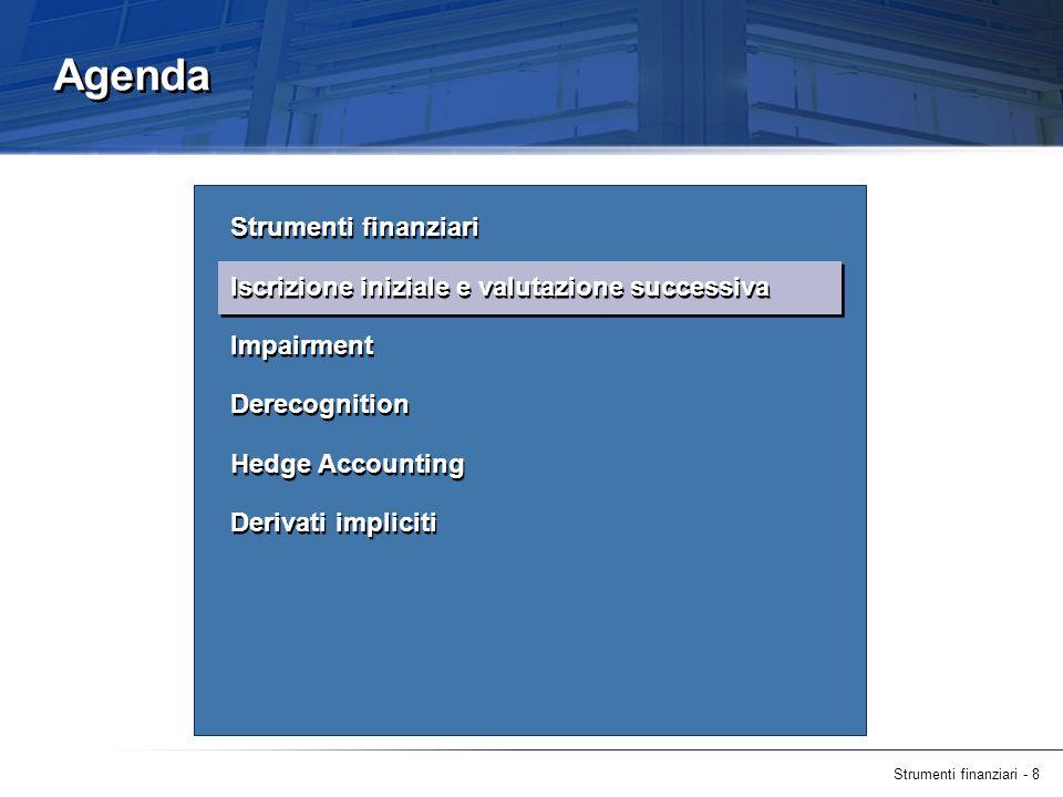 Strumenti finanziari - 19 Future evoluzioni dello IAS 39 (segue) exposure draft IAS 39 - luglio 2009 Eliminazione dellobbligo di scorporare i derivati impliciti qualora lo strumento ospite rientri nello scope dello IAS 39 e classificazione dellintera attività alternativamente a FVTPL o al costo ammortizzato sulla base del basic loans feature test.