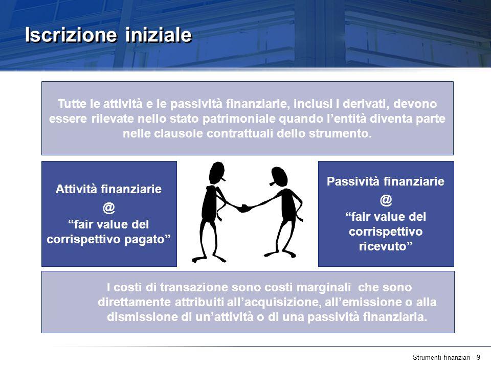 Strumenti finanziari - 9 Iscrizione iniziale Tutte le attività e le passività finanziarie, inclusi i derivati, devono essere rilevate nello stato patr
