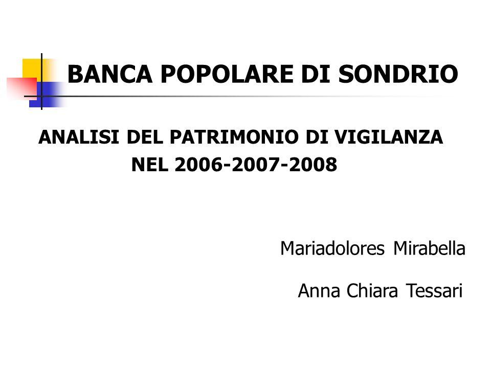 BANCA POPOLARE DI SONDRIO ANALISI DEL PATRIMONIO DI VIGILANZA NEL 2006-2007-2008 Mariadolores Mirabella Anna Chiara Tessari