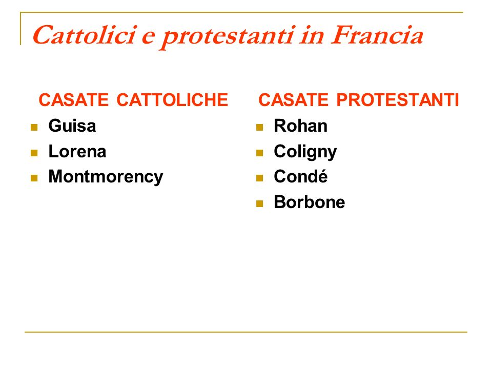 Cattolici e protestanti in Francia CASATE CATTOLICHE Guisa Lorena Montmorency CASATE PROTESTANTI Rohan Coligny Condé Borbone