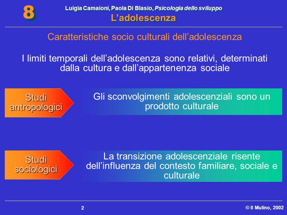 Luigia Camaioni, Paola Di Blasio, Psicologia dello sviluppo Ladolescenza © Il Mulino, 2002 8 8 2 I limiti temporali delladolescenza sono relativi, det