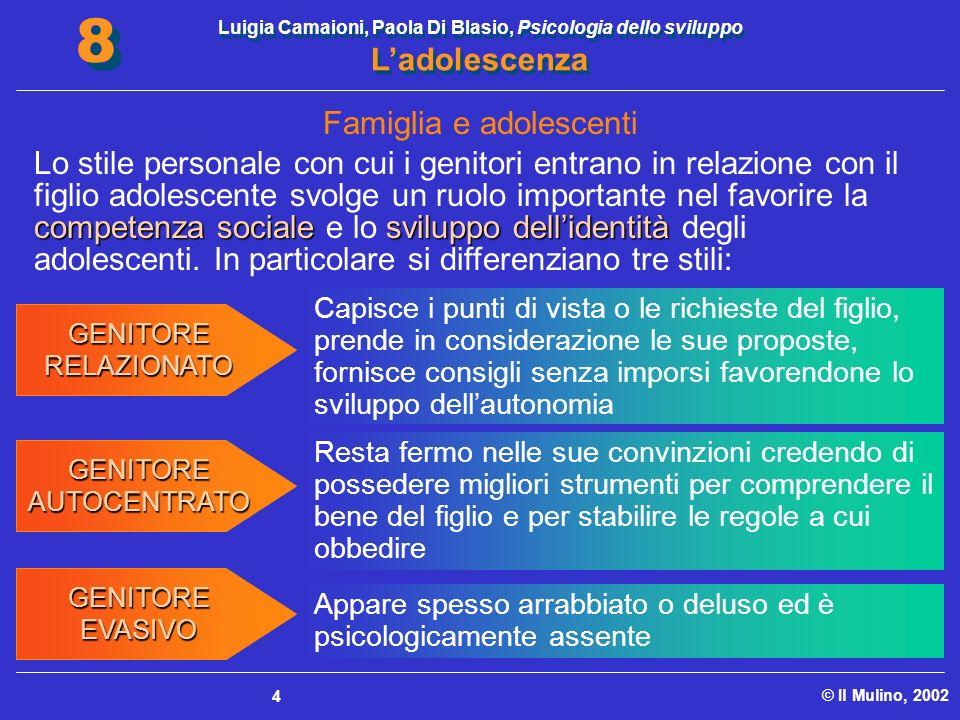 Luigia Camaioni, Paola Di Blasio, Psicologia dello sviluppo Ladolescenza © Il Mulino, 2002 8 8 4 competenza socialesviluppo dellidentità Lo stile pers