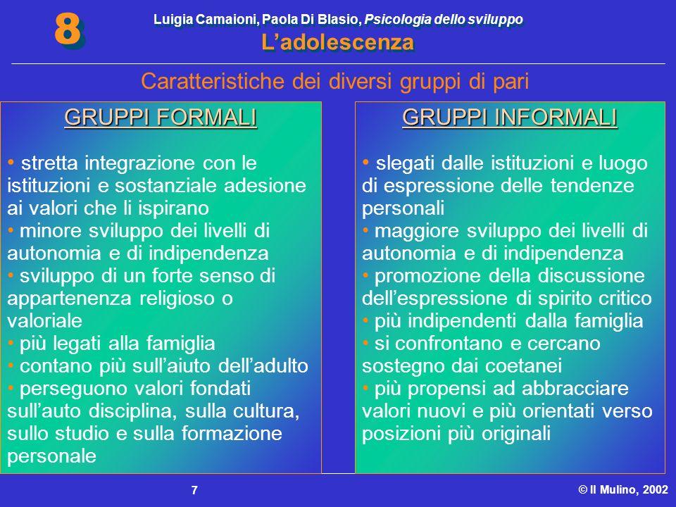 Luigia Camaioni, Paola Di Blasio, Psicologia dello sviluppo Ladolescenza © Il Mulino, 2002 8 8 7 Caratteristiche dei diversi gruppi di pari GRUPPI FOR