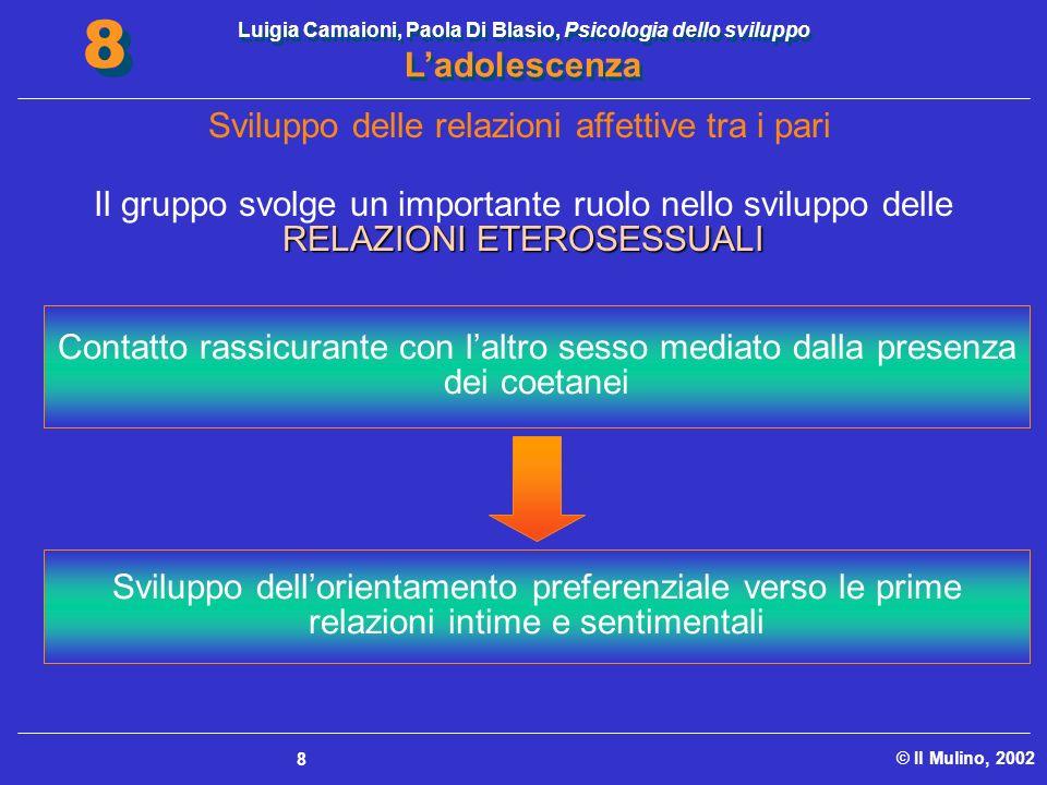 Luigia Camaioni, Paola Di Blasio, Psicologia dello sviluppo Ladolescenza © Il Mulino, 2002 8 8 8 Sviluppo delle relazioni affettive tra i pari RELAZIO