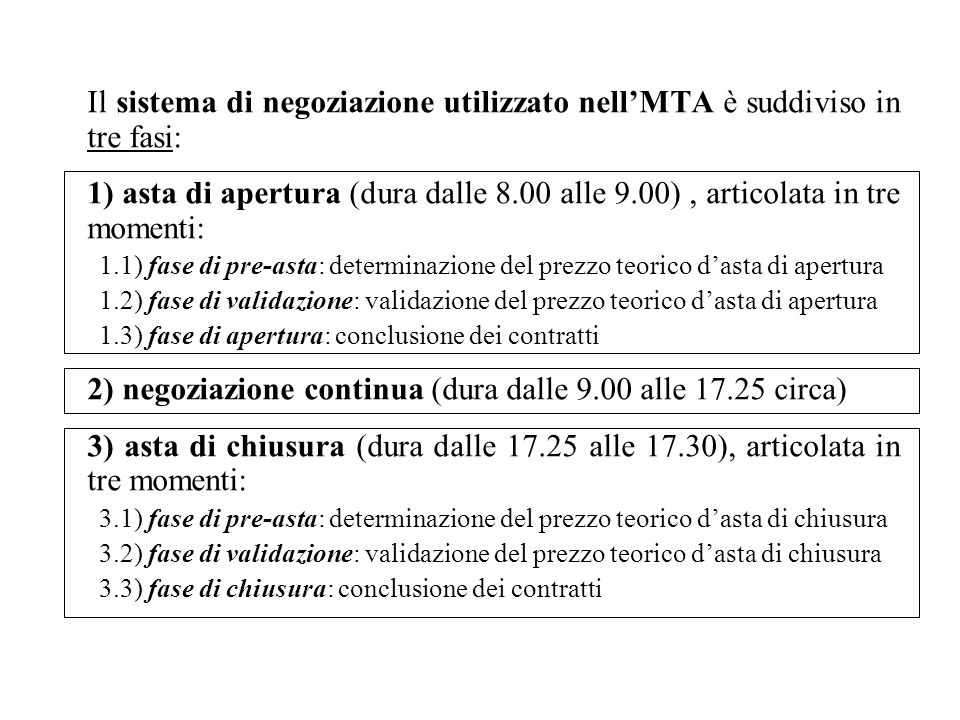 Il sistema di negoziazione utilizzato nellMTA è suddiviso in tre fasi: 1) asta di apertura (dura dalle 8.00 alle 9.00), articolata in tre momenti: 1.1) fase di pre-asta: determinazione del prezzo teorico dasta di apertura 1.2) fase di validazione: validazione del prezzo teorico dasta di apertura 1.3) fase di apertura: conclusione dei contratti 2) negoziazione continua (dura dalle 9.00 alle 17.25 circa) 3) asta di chiusura (dura dalle 17.25 alle 17.30), articolata in tre momenti: 3.1) fase di pre-asta: determinazione del prezzo teorico dasta di chiusura 3.2) fase di validazione: validazione del prezzo teorico dasta di chiusura 3.3) fase di chiusura: conclusione dei contratti