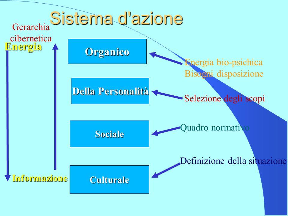 Organico Della Personalità Sociale Culturale Sistema d azione Unit act Mezzi Fini Norme Valori