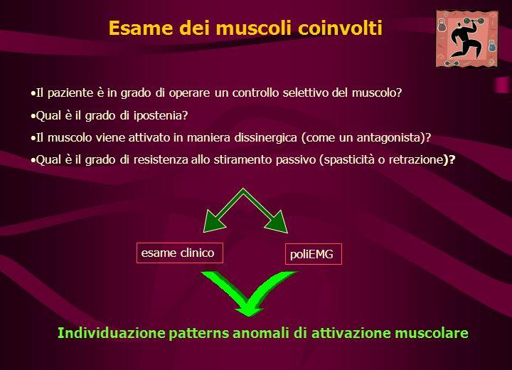Esame dei muscoli coinvolti Il paziente è in grado di operare un controllo selettivo del muscolo.
