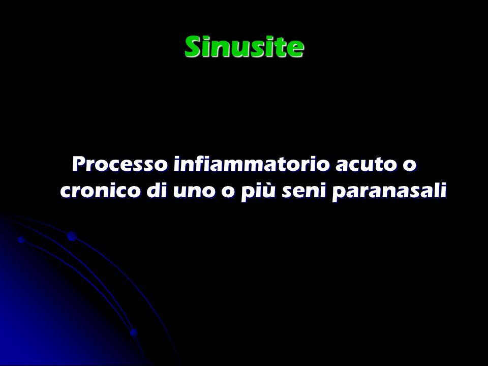Sinusite Processo infiammatorio acuto o cronico di uno o più seni paranasali