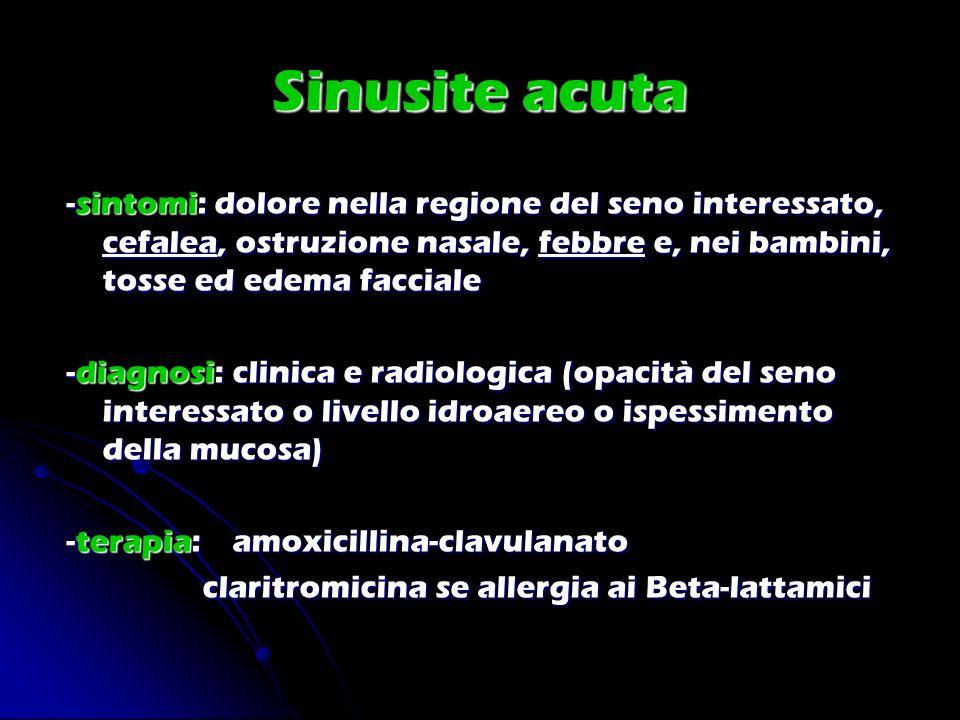 Sinusite acuta -sintomi: dolore nella regione del seno interessato, cefalea, ostruzione nasale, febbre e, nei bambini, tosse ed edema facciale -diagno