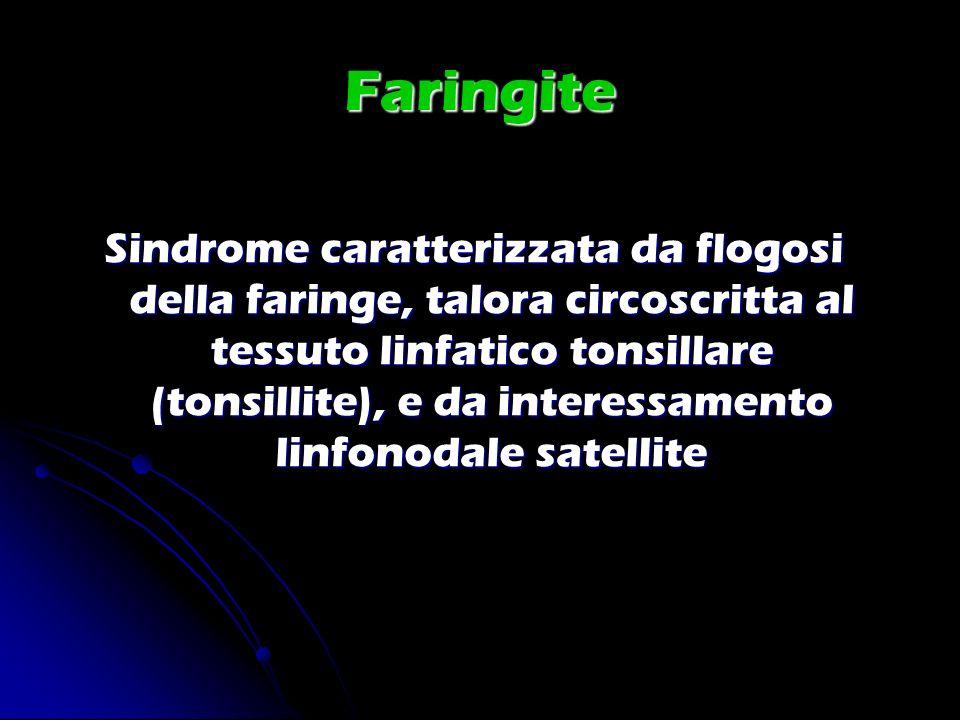 Faringite Sindrome caratterizzata da flogosi della faringe, talora circoscritta al tessuto linfatico tonsillare (tonsillite), e da interessamento linf