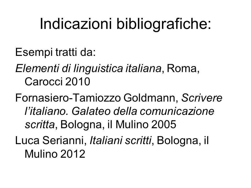 Indicazioni bibliografiche: Esempi tratti da: Elementi di linguistica italiana, Roma, Carocci 2010 Fornasiero-Tamiozzo Goldmann, Scrivere litaliano. G