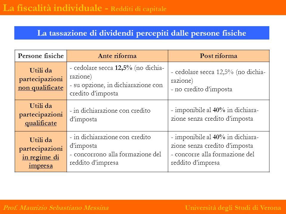 La tassazione di dividendi percepiti dalle persone fisiche Persone fisicheAnte riformaPost riforma Utili da partecipazioni non qualificate - cedolare