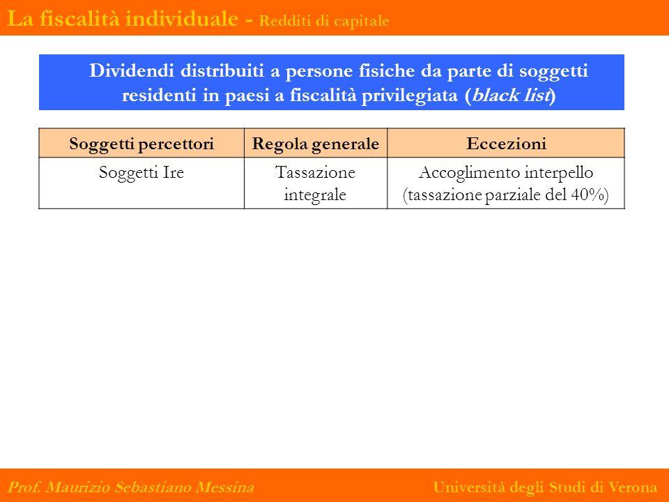 Soggetti percettoriRegola generaleEccezioni Soggetti IreTassazione integrale Accoglimento interpello (tassazione parziale del 40%) Prof. Maurizio Seba