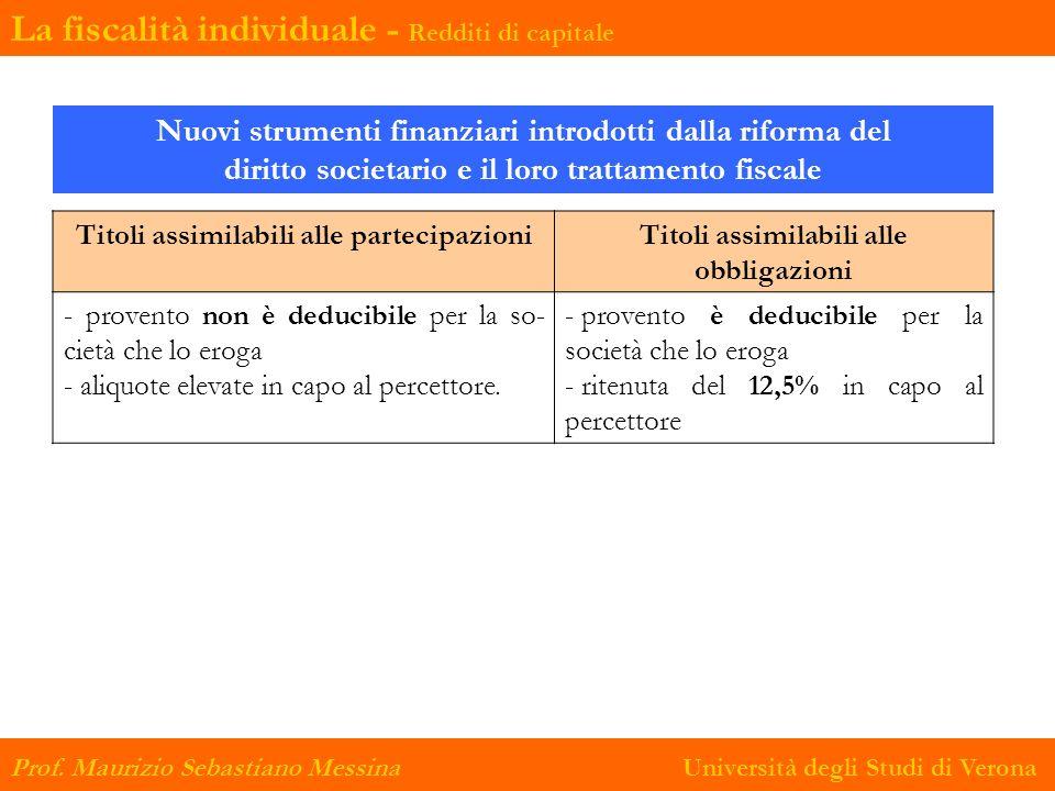 Nuovi strumenti finanziari introdotti dalla riforma del diritto societario e il loro trattamento fiscale Titoli assimilabili alle partecipazioniTitoli