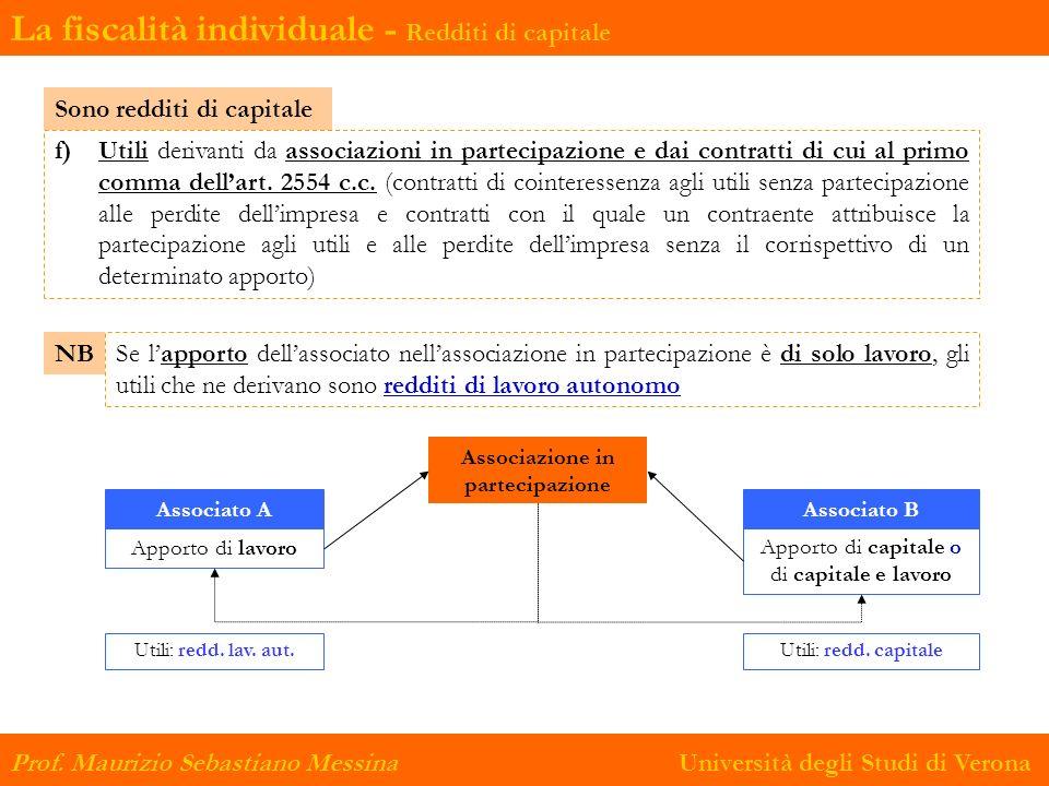 Prof. Maurizio Sebastiano Messina Università degli Studi di Verona f) Utili derivanti da associazioni in partecipazione e dai contratti di cui al prim