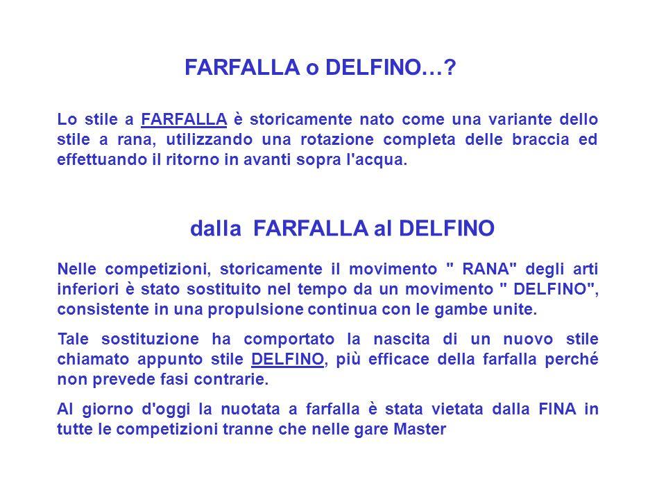 FARFALLA o DELFINO…? Lo stile a FARFALLA è storicamente nato come una variante dello stile a rana, utilizzando una rotazione completa delle braccia ed
