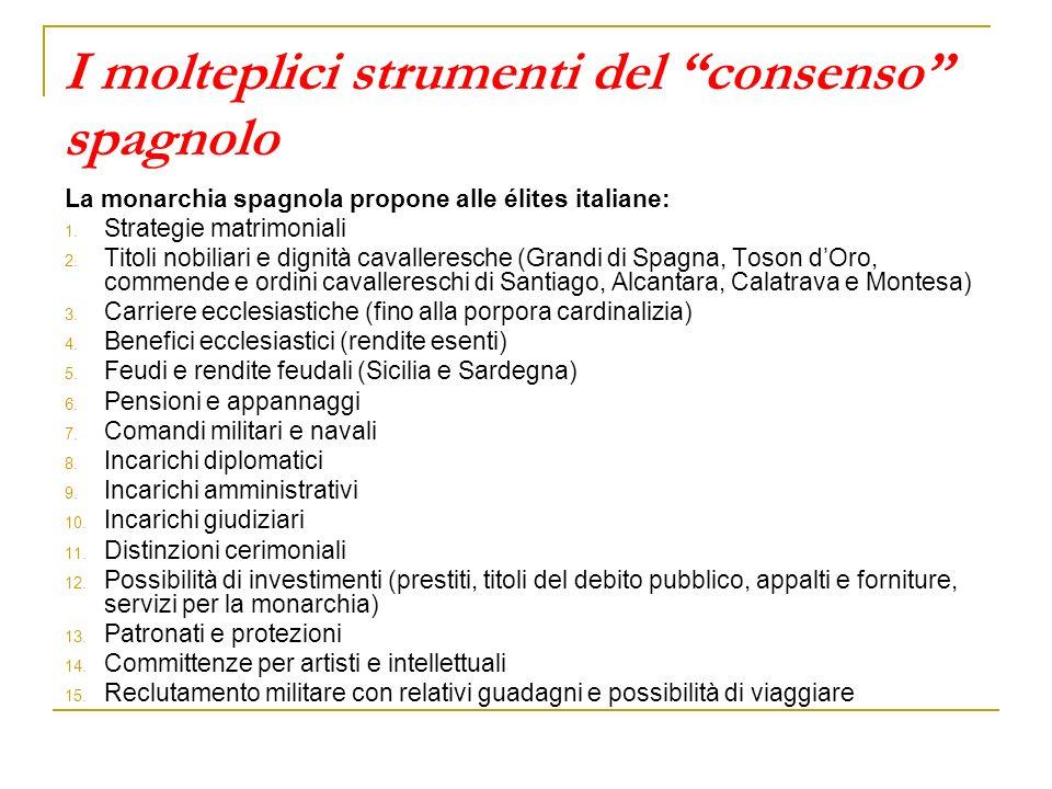 I molteplici strumenti del consenso spagnolo La monarchia spagnola propone alle élites italiane: 1. Strategie matrimoniali 2. Titoli nobiliari e digni