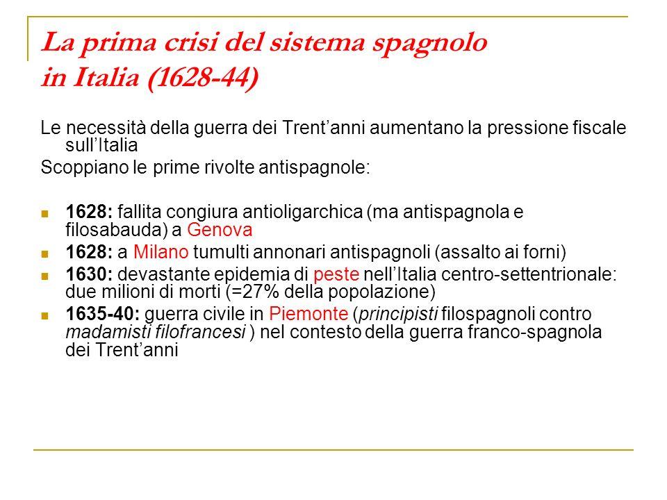La prima crisi del sistema spagnolo in Italia (1628-44) Le necessità della guerra dei Trentanni aumentano la pressione fiscale sullItalia Scoppiano le