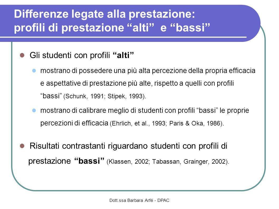 Differenze legate alla prestazione: profili di prestazione alti e bassi Gli studenti con profili alti mostrano di possedere una più alta percezione de