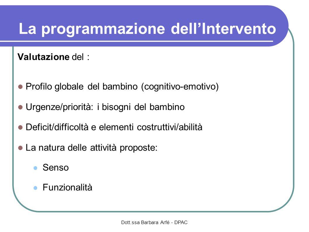 La programmazione dellIntervento Valutazione del : Profilo globale del bambino (cognitivo-emotivo) Urgenze/priorità: i bisogni del bambino Deficit/dif