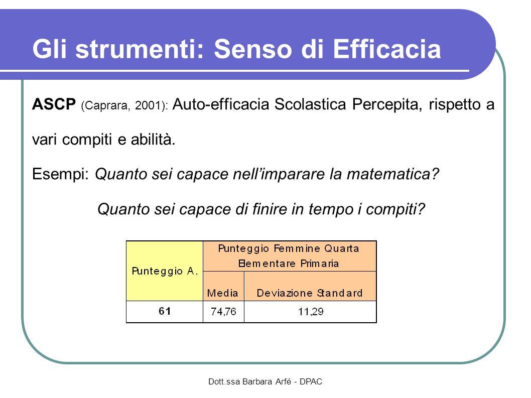 ASCP (Caprara, 2001): Auto-efficacia Scolastica Percepita, rispetto a vari compiti e abilità. Esempi: Quanto sei capace nellimparare la matematica? Qu
