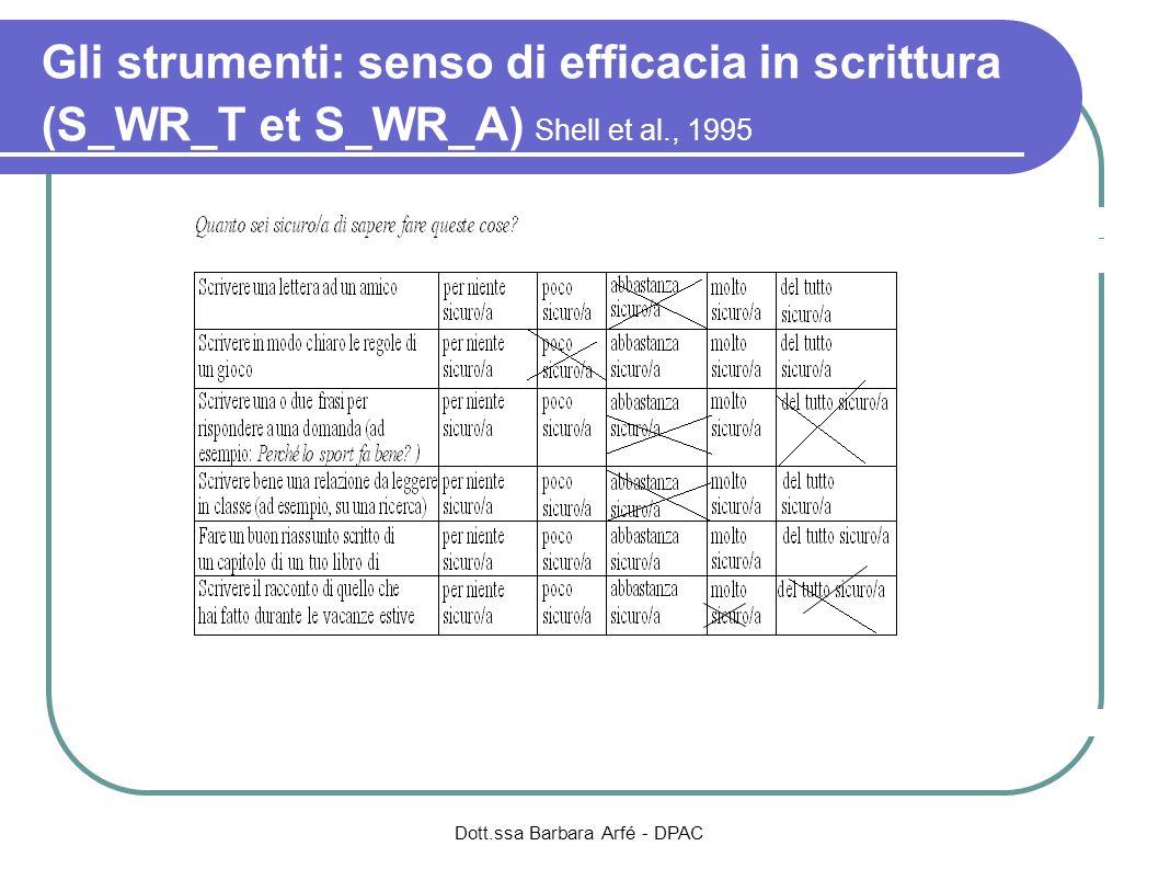 Gli strumenti: senso di efficacia in scrittura (S_WR_T et S_WR_A) Shell et al., 1995 Dott.ssa Barbara Arfé - DPAC