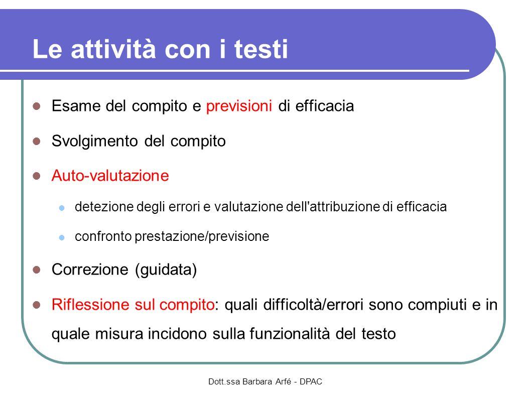 Le attività con i testi Esame del compito e previsioni di efficacia Svolgimento del compito Auto-valutazione detezione degli errori e valutazione dell