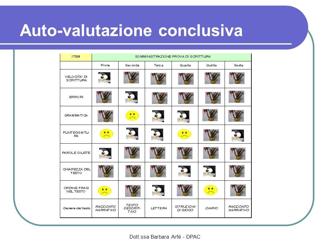 Auto-valutazione conclusiva Dott.ssa Barbara Arfé - DPAC