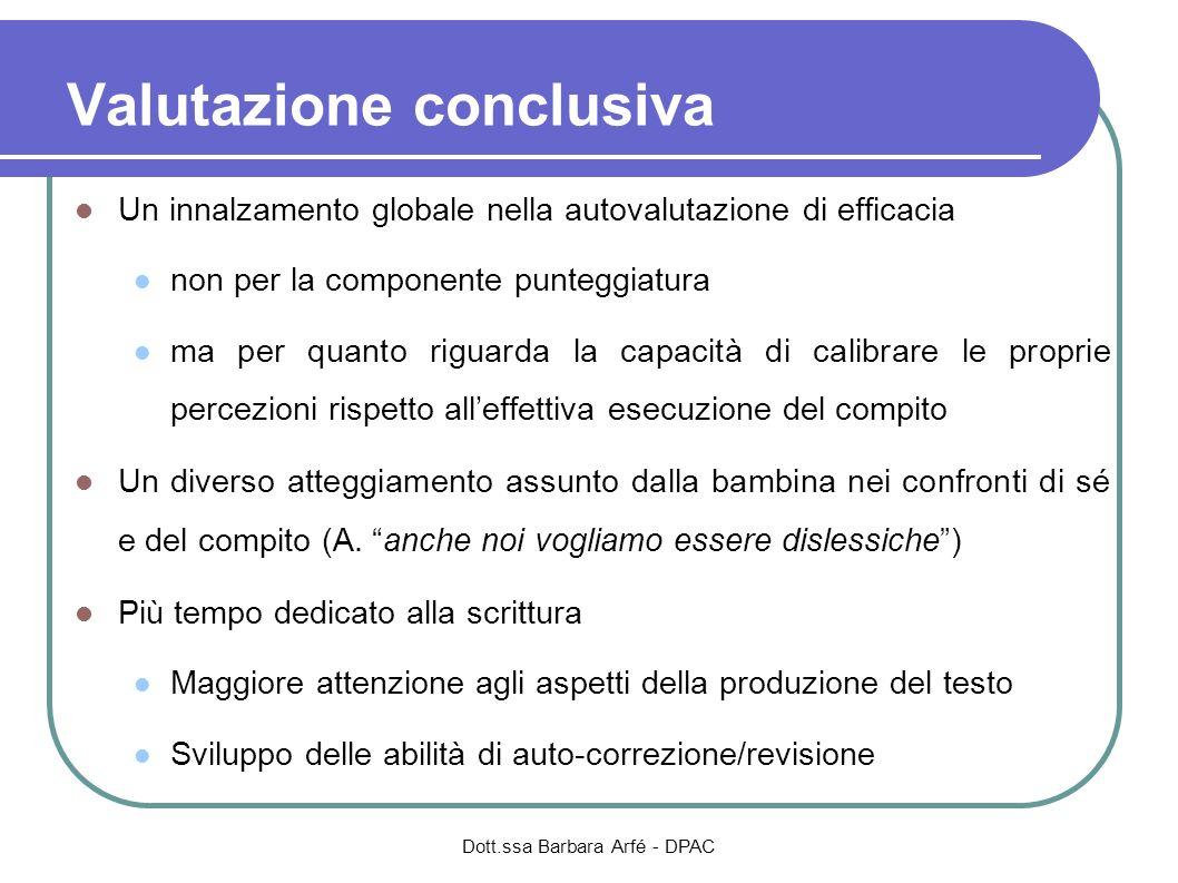Valutazione conclusiva Un innalzamento globale nella autovalutazione di efficacia non per la componente punteggiatura ma per quanto riguarda la capaci