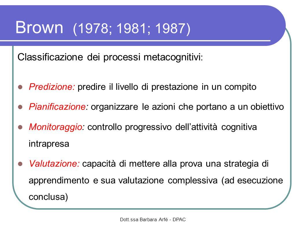 Brown (1978; 1981; 1987) Classificazione dei processi metacognitivi : Predizione: predire il livello di prestazione in un compito Pianificazione: orga