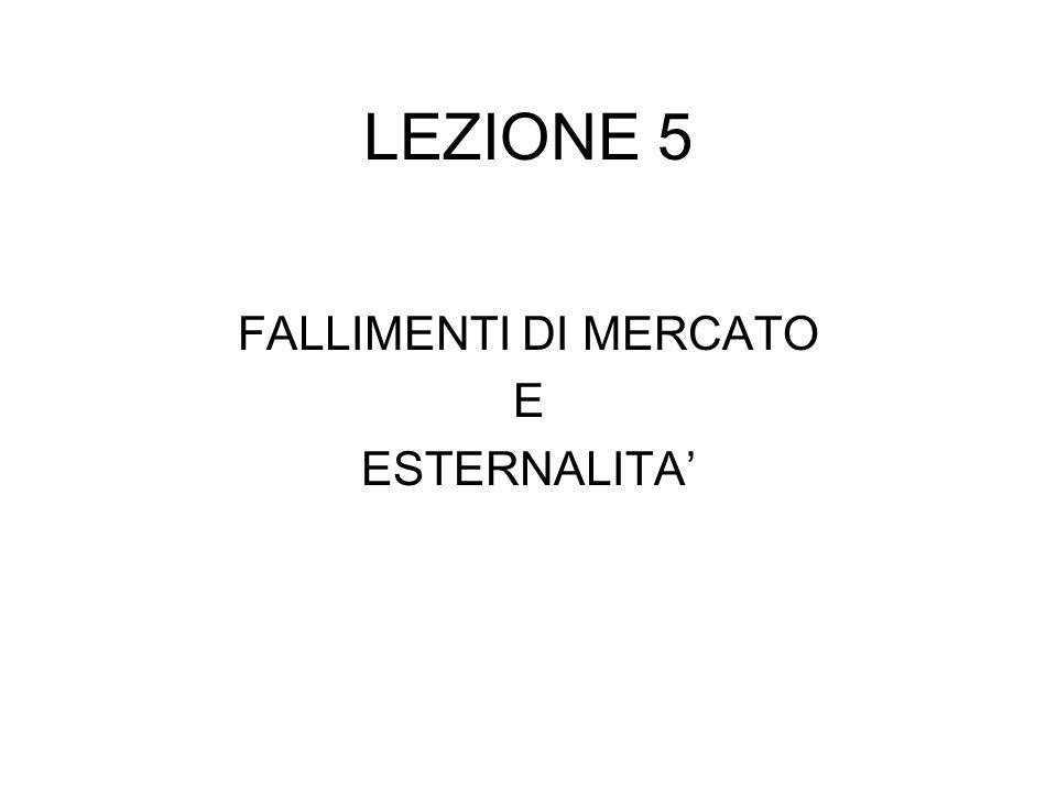 LEZIONE 5 FALLIMENTI DI MERCATO E ESTERNALITA